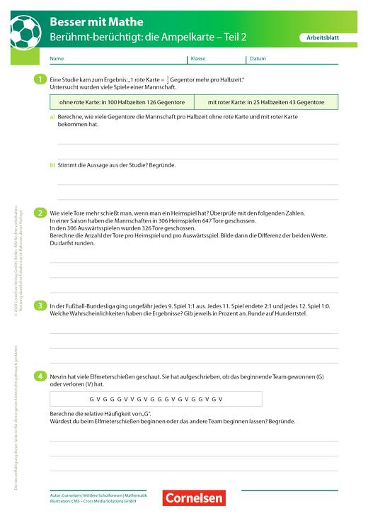 Die Ampelkarte - Teil 2 - Arbeitsblatt mit Lösung
