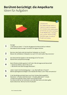 Die Ampelkarte - Ideen - Arbeitsblatt