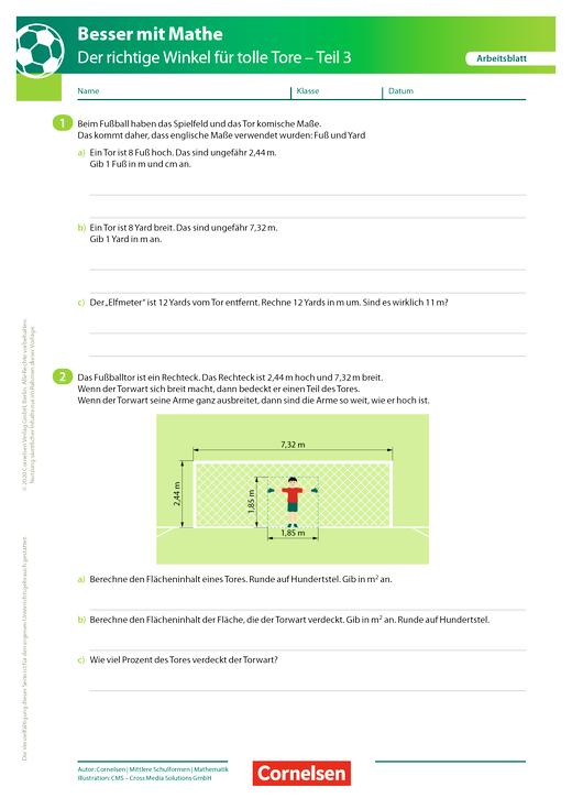 Der richtige Winkel - Teil 3 - Arbeitsblatt mit Lösung
