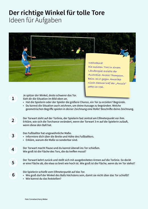 Der richtige Winkel - Ideen - Arbeitsblatt
