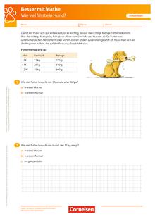 Wie viel frisst ein Hund? - Arbeitsblatt mit Lösung
