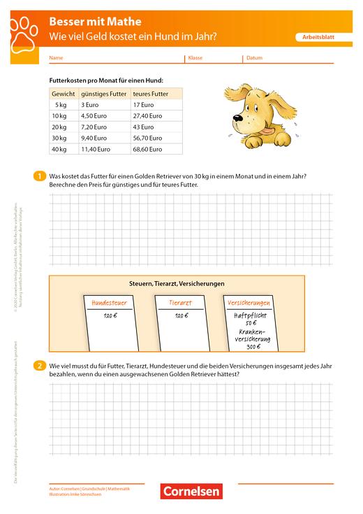 Wie viel kostet ein Hund? - Arbeitsblatt mit Lösung