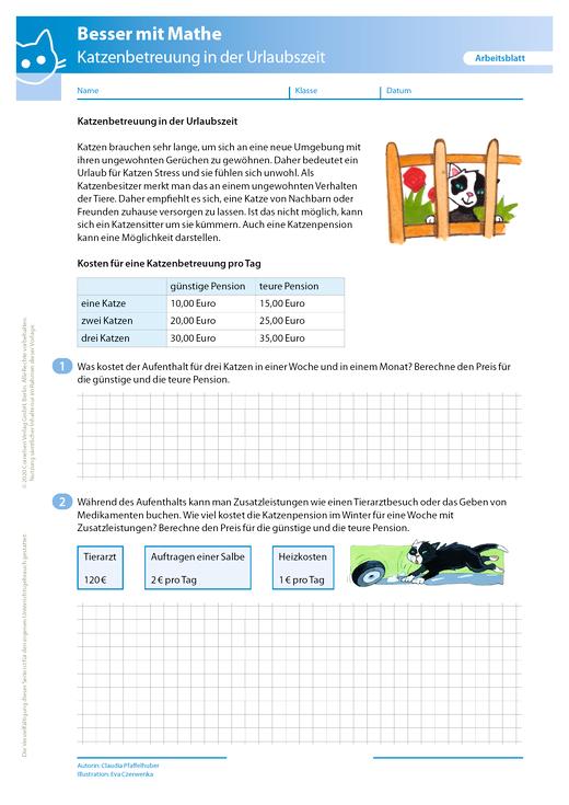 Katzenbetreuung in der Urlaubszeit - Arbeitsblatt mit Lösung