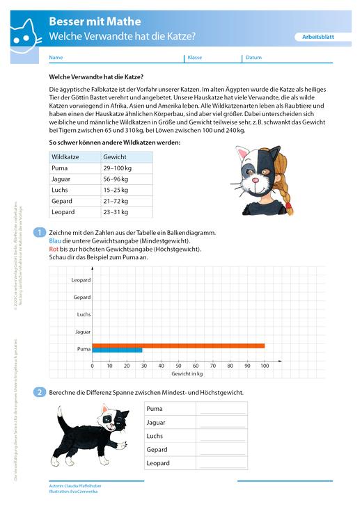 Welche Verwandte hat die Katze? - Arbeitsblatt mit Lösung