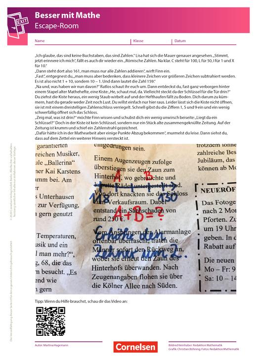 Escape-Game - 2. Kapitel: Die Kiste mit dem Zahlenschloss - Arbeitsblatt