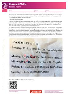 Escape-Game - 3. Kapitel: Kammerspiele - Arbeitsblatt