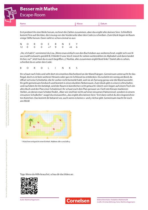 Escape-Game - 6. Kapitel: Die Quadratur der Schatzinsel - Arbeitsblatt
