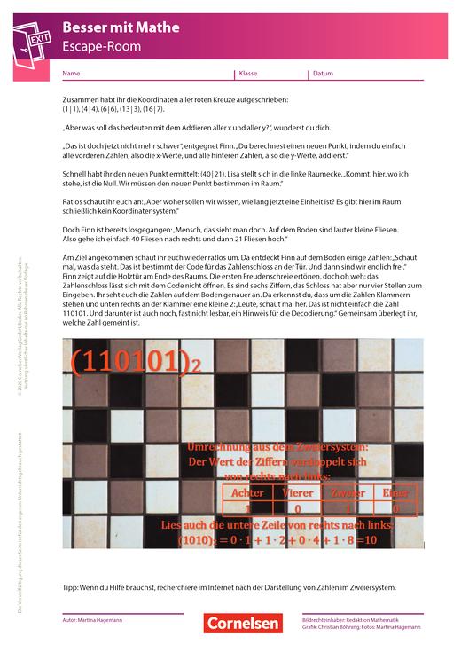 Escape-Game - 7. Kapitel: Fliesen - Arbeitsblatt