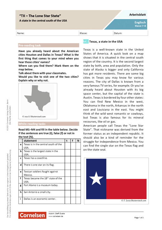 """""""TX - The Lone Star State"""" - Texas, a state in the central south of the USA - Arbeitsblatt mit Lösungen"""
