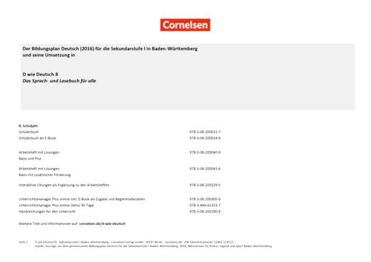 D wie Deutsch - Stoffverteilungsplan Bildungsplan Deutsch SEK I Baden-Württemberg - 8. Schuljahr