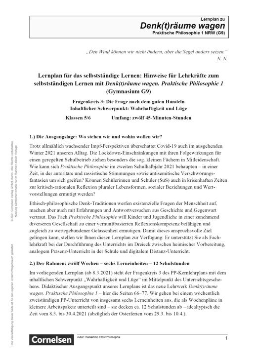 Denk(t)räume wagen - Fragenkreis 3: Wahrhaftigkeit - Lernplan - Lehrerfassung - Band 1