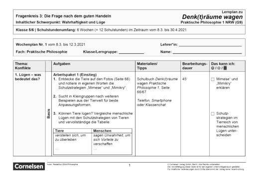 Denk(t)räume wagen - Fragenkreis 3: Wahrhaftigkeit - Lernplan - Schülerfassung - Band 1