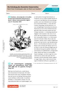 Die Gründung des Deutschen Kaiserreichs – Reich freier Einzelstaaten oder ein Reich von Vasallen? - Arbeitsblatt mit Lösungen