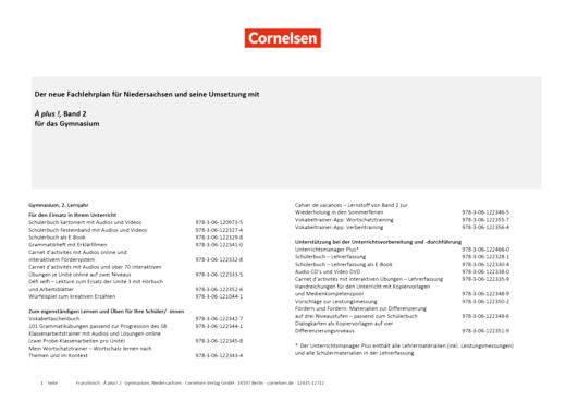 À plus ! Neubearbeitung - Planungshilfe Fachlehrplan Französisch Gymnasium Niedersachsen - Band 2