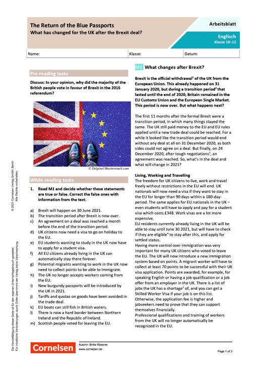 The Return of the Blue Passports: What has changed for the UK after the Brexit deal? - Arbeitsblatt mit Lösungen