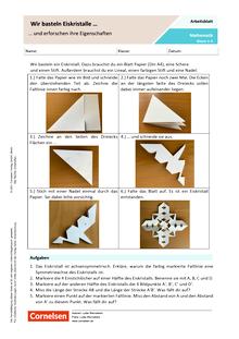 Wir basteln Eiskristalle und erforschen ihre Eigenschaften - Arbeitsblatt