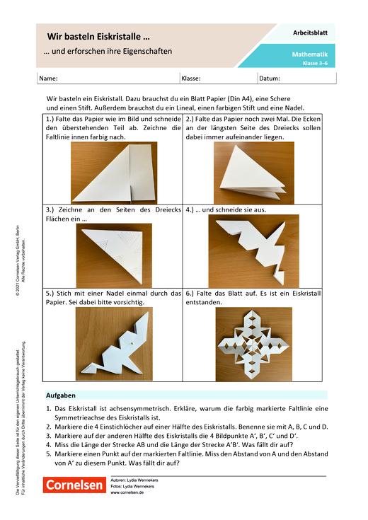 Wir basteln Eiskristalle und erforschen ihre Eigenschaften - Arbeitsblatt mit Lösungen