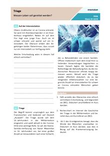 Triage – Wessen Leben soll  gerettet werden? - Arbeitsblatt