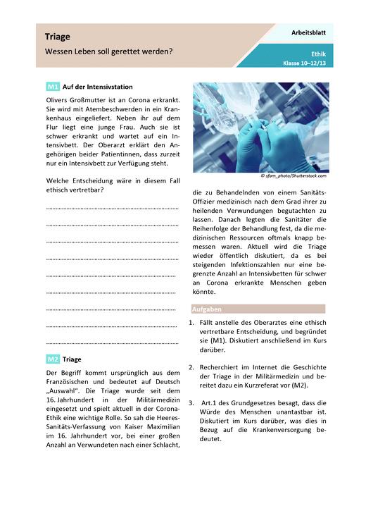 Triage – Wessen Leben soll  gerettet werden? - Arbeitsblatt mit Lösungen
