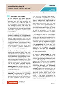 Mit politischem Auftrag: Ein Blick auf die Literatur der DDR - Arbeitsblatt mit Lösungen