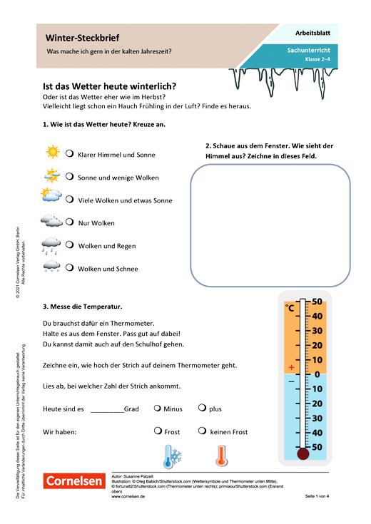 Winter-Steckbrief: Was mache ich gern in der kalten Jahreszeit? - Arbeitsblatt mit Lösungen