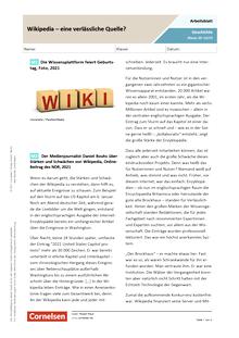 Wikipedia - eine verlässliche Quelle? - Arbeitsblatt mit Lösungen