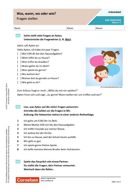 DaZ/Deutsch: Was, wann, wo oder wie? Fragen stellen - Arbeitsblatt mit Lösungen