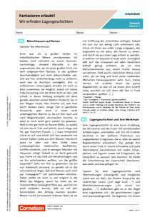 Fantasieren erlaubt! – Wir erfinden Lügengeschichten - Arbeitsblatt mit Lösungen