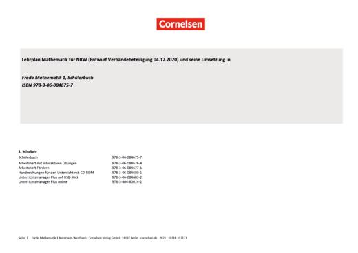 Fredo - Mathematik - Synopse für Nordrhein-Westfalen - 1. Schuljahr