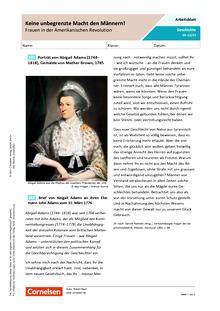 Keine unbegrenzte Macht den Männern! - Frauen in der Amerikanischen Revolution - Arbeitsblatt mit Lösungen