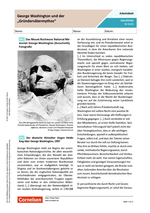 """George Washington und der """"Gründerväter-Mythos"""" - Arbeitsblatt mit Lösungen"""