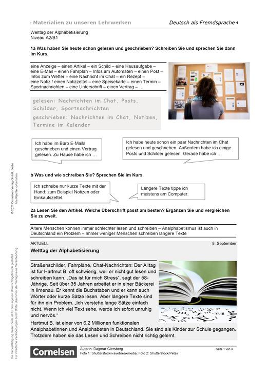 Welttag der Alphabetisierung (A2/B1) - Arbeitsblatt