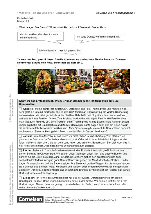 Erntedankfest (A2) - Arbeitsblatt