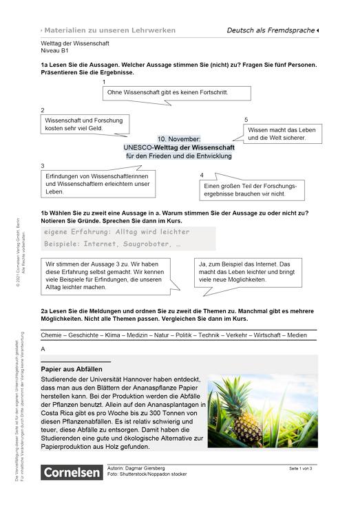 Welttag der Wissenschaft (B1) - Arbeitsblatt