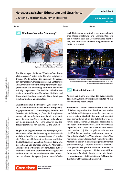 Holocaust zwischen Erinnerung und Geschichte. Deutsche Gedächtniskultur im Widerstreit - Arbeitsblatt