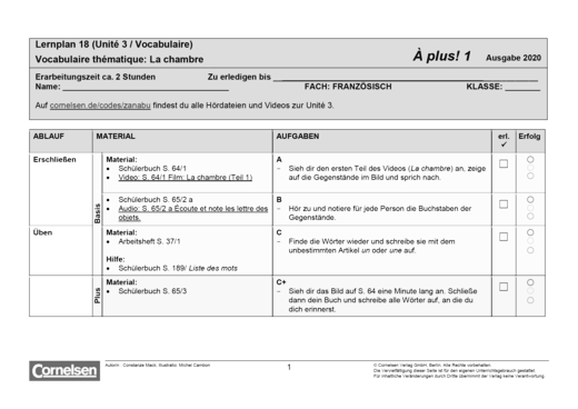 À plus ! Neubearbeitung - Unité 3 - Lernplan - Schülerfassung - Band 1