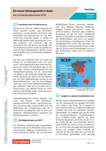 Ein neues Schwergewicht in Asien - Das Freihandelsabkommen RCEP - Arbeitsblatt mit Lösungen