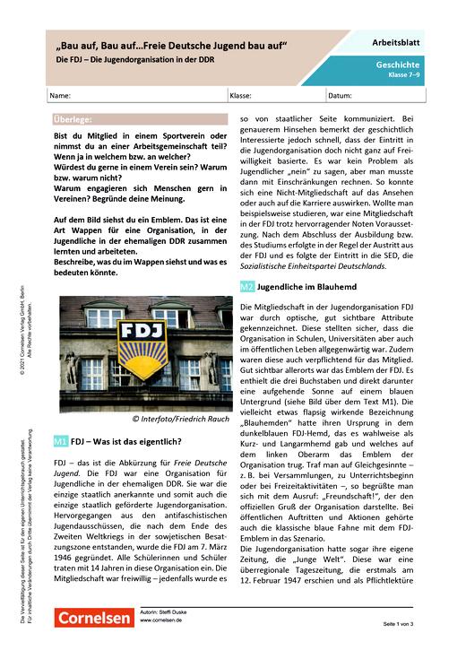 """""""Bau auf, Bau auf…Freie Deutsche Jugend bau auf""""  Die FDJ - Die Jugendorganisation in der DDR - Arbeitsblatt mit Lösungen"""