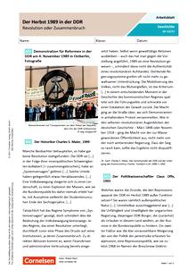 Der Herbst 1989 in der DDR - Revolution oder Zusammenbruch? - Arbeitsblatt mit Lösungen
