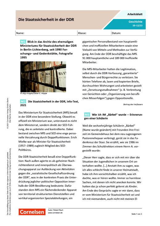 Die Staatssicherheit in der DDR - Arbeitsblatt mit Lösungen