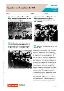 Opposition und Repression in der DDR - Arbeitsblatt mit Lösungen
