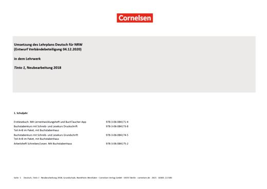 Tinto 1 - Synopse für Nordrhein-Westfalen - 1. Schuljahr