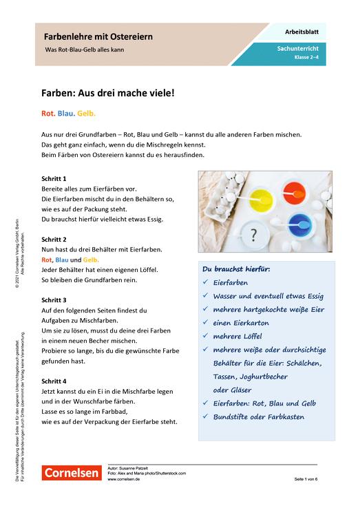 Farbenlehre mit Ostereiern - Was Rot-Blau-Gelb alles kann - Arbeitsblatt