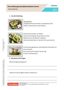 Eine Anleitung lesen - Wir beobachten unsere Kresse im Ei - Arbeitsblatt mit Lösungen