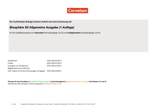 Biosphäre Sekundarstufe II - 2.0 - Synopse für die Oberstufe Sachsen-Anhalt - Gesamtband