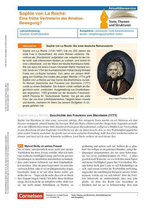 Texte, Themen und Strukturen - Sophie von La Roche - Eine frühe Vertreterin der #metoo-Bewegung? - Kopiervorlagen mit Materialien, Aufgaben, didaktischen Hinweisen sowie Lösungen