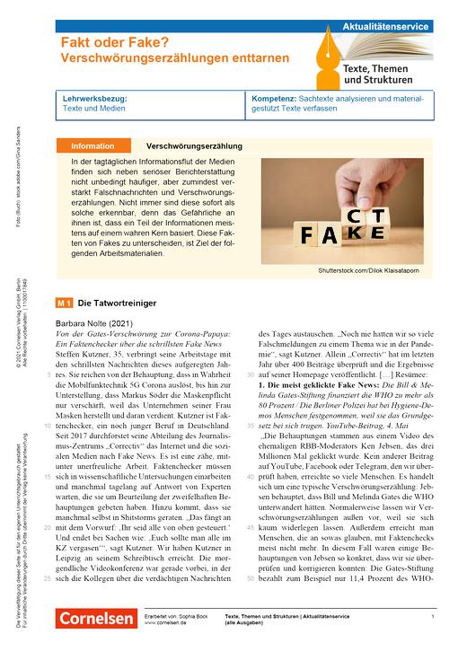 Texte, Themen und Strukturen - Fakt oder Fake? Verschwörungserzählungen enttarnen - Kopiervorlagen mit Materialien, Aufgaben, didaktischen Hinweisen sowie Lösungen