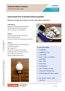 Ostereier färben in Schaum - Färbetechnik mit Marmoreffekt - Arbeitsblatt mit Lösungen