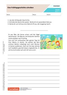 Eine Frühlingsgeschichte schreiben - Arbeitsblatt mit Lösungen