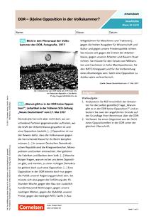 DDR - (k)eine Oppositon in der Volkskammer? - Arbeitsblatt mit Lösungen